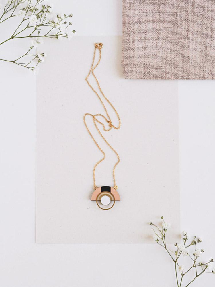 Geometric Blush Pink Necklace