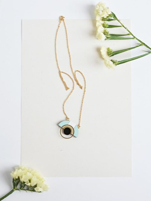 Geometric Ice Blue Necklace