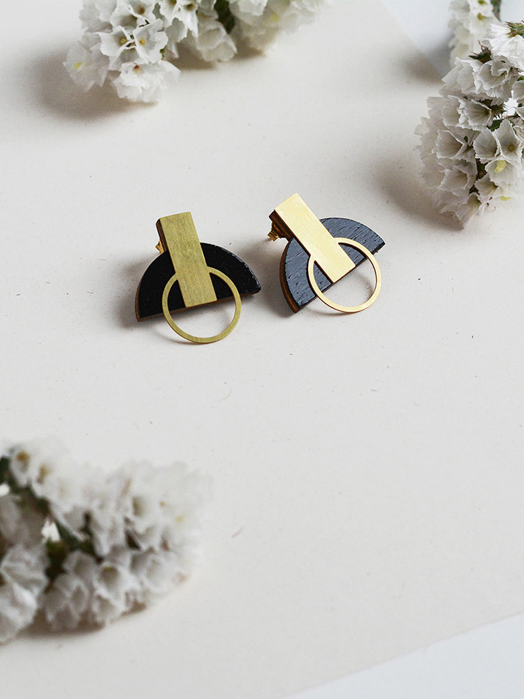 Black stud earrings