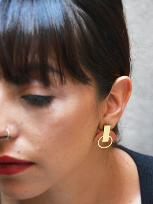 Burnt Orange stud earrings