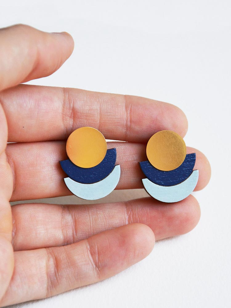 Modern blue stud earrings