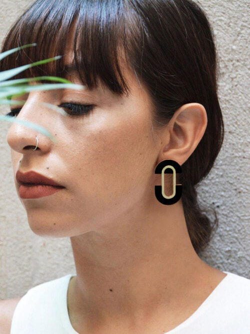 Statement black earrings