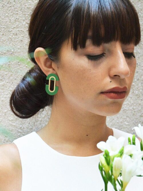 Statement green earrings