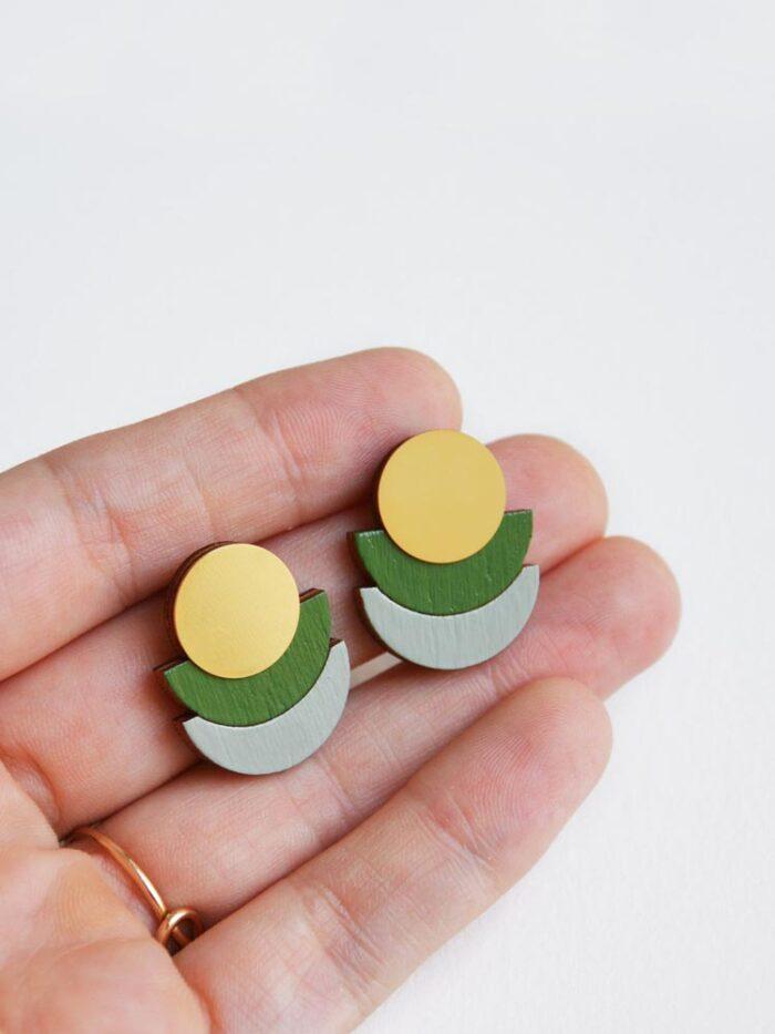 Modern olive green stud earrings