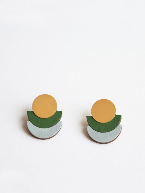 Modern olive green stud earrings