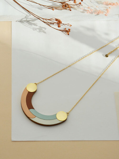 Geometric half-circle necklace