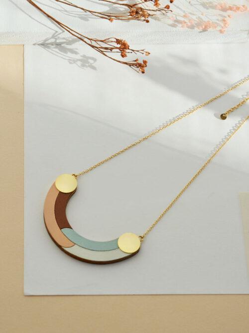 Geometric half-circle necklace