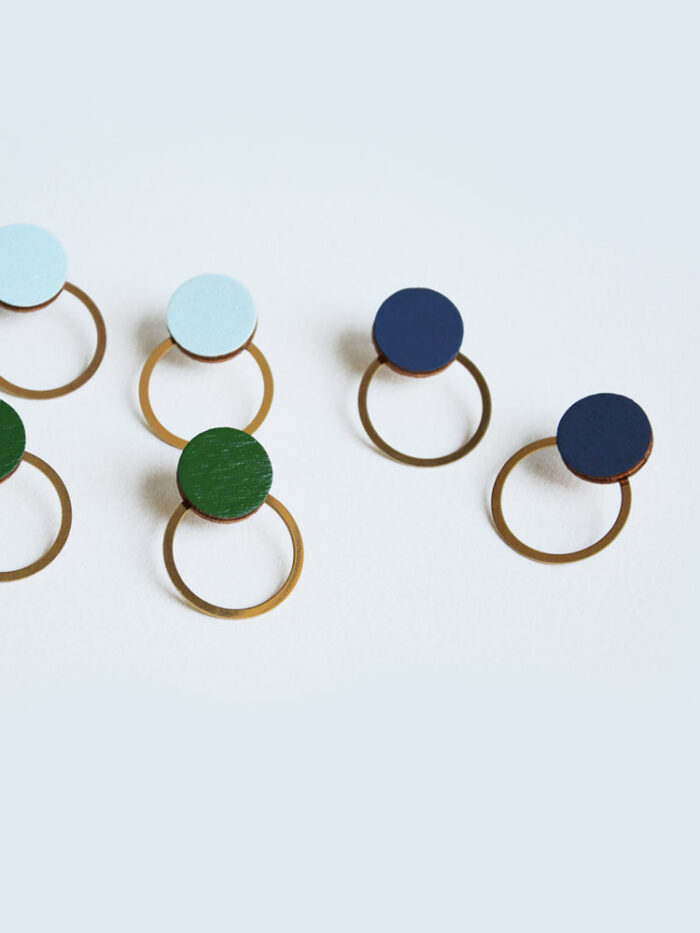 Blue circle earrings