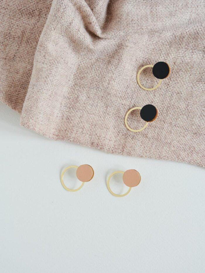 Pink circle earrings