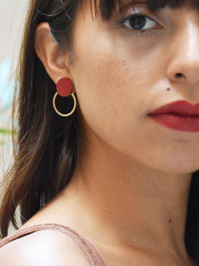 Burgundy circle earrings