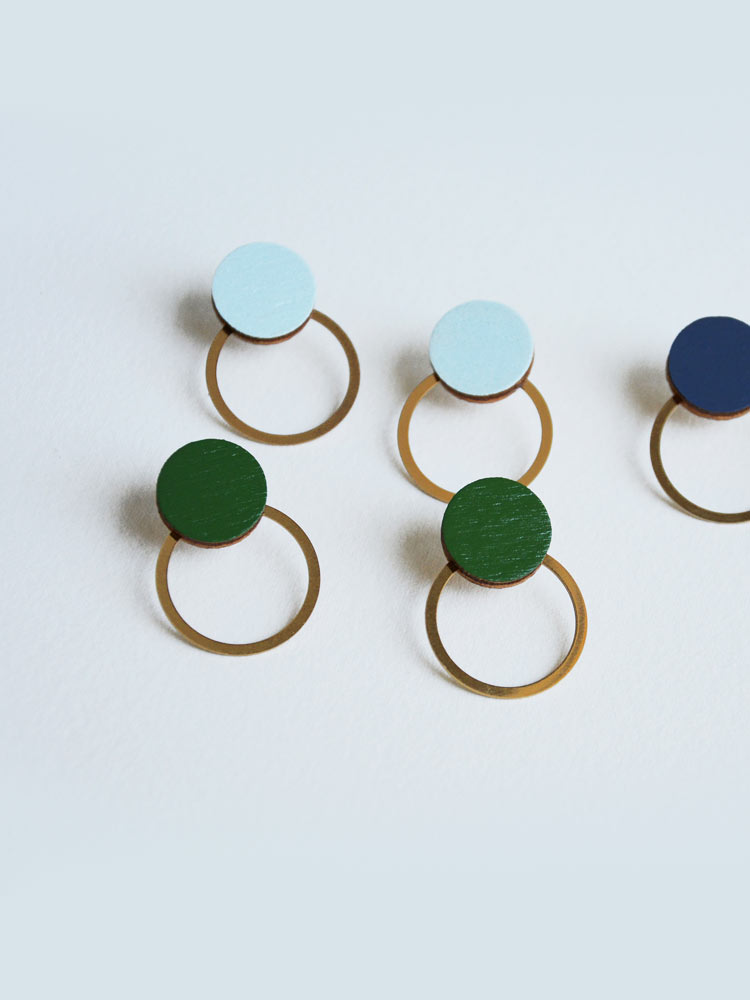 Circle earrings SATURNO ice-blue
