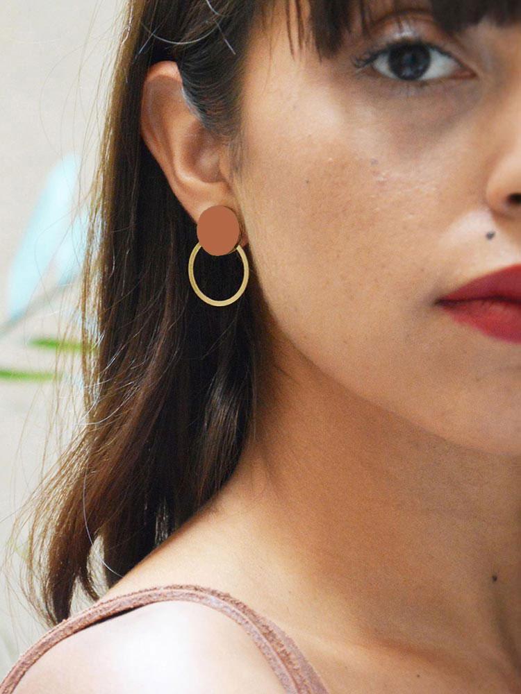 Terracotta circle earrings